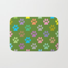 Colorful paws pattern Bath Mat