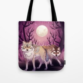 Full Moon - digital drawing of wolves in a forest at night Tote Bag