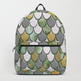 Oceanic Green Pink Gold Mermaid Scales FHLVLB SD Backpack