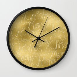 Merry christmas- christmas typography on gold pattern Wall Clock