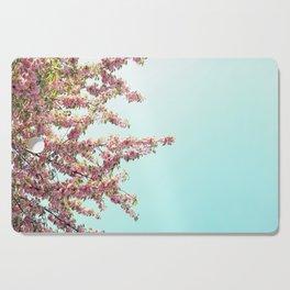 Pink Flowers on Aqua Blue Cutting Board