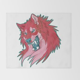 Ravewolf -Teal and Berry Throw Blanket