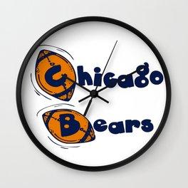 Da Bears Font Typography Wall Clock