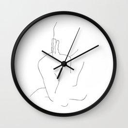 Girl waiting minimal line drawing Wall Clock