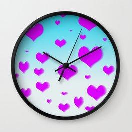 Raining Hearts  Wall Clock