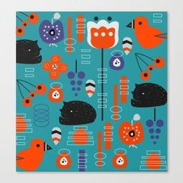 Modern birds and sleepy cats Canvas Print