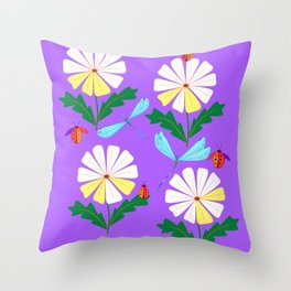 White Spring Daisies, Dragonflies, Lady Bugs lavender Throw Pillow
