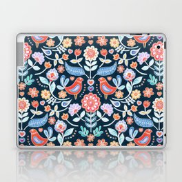 Happy Folk Summer Floral on Navy Laptop & iPad Skin