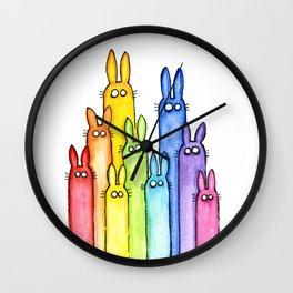 Rainbow of Bunny Rabbits Watercolor Wall Clock