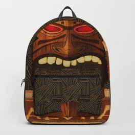 Vintage Wood Tiki Aloha Backpack