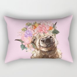 Highland Cow with Flowers Crown in Pink Rectangular Pillow