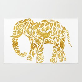 Floral Elephant in Gold Rug