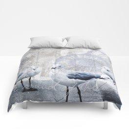 Sea gull ocean mixed media art Comforters