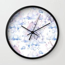 Watercolor unicorn in the sky Wall Clock