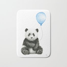 Panda Baby Animal with Blue Balloon Bath Mat