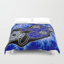 Baby Sea Turtles - Aboriginal Art Duvet Cover
