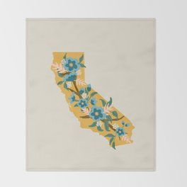 The Golden State of Flowers Throw Blanket