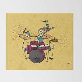 Crazy drummer Throw Blanket