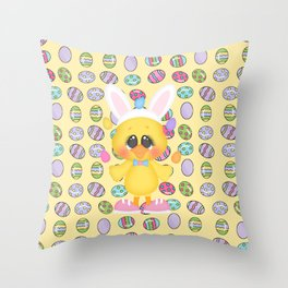 Easter Chick with Bunny Ears Throw Pillow