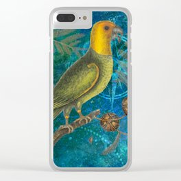 Carolina Parakeet with Cypress, Antique Natural History and Botanical Clear iPhone Case
