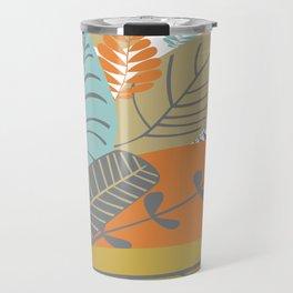 Bright Tropical Leaf Retro Mid Century Modern Travel Mug
