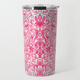 Spring Arrangement - floral doodle in pink & mint Travel Mug