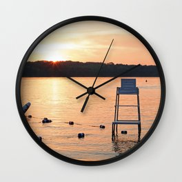 Summer Sunset Over Lake Wall Clock