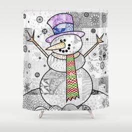 Coloured Snowman Shower Curtain