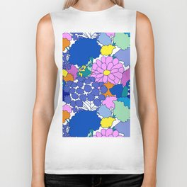 Far-Out 60's Floral in White Biker Tank