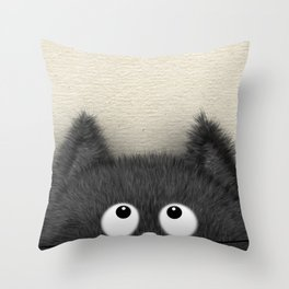 Cute Fluffy Black cat peaking out Throw Pillow
