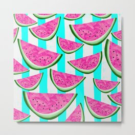 Watermelon Crush on Aqua and White Stripes Metal Print