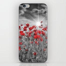Idyllic Field of Poppies with Sun iPhone Skin