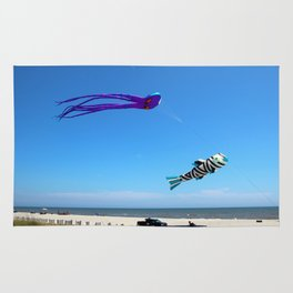 Large Kites Over The Beach Rug