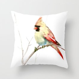 Northern Cardinal (female Cardinal bird) Throw Pillow
