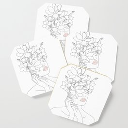 Minimal Line Art Woman with Magnolia Coaster