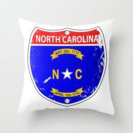 North Carolina Flag Icons As Interstate Sign Throw Pillow