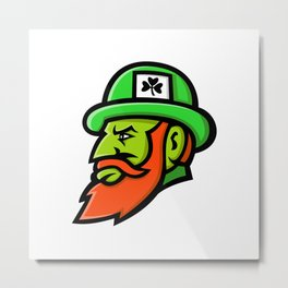 Leprechaun Head Mascot Metal Print