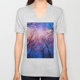 A New Day Will Dawn  (Day Tree Silhouettes) Unisex V-Neck