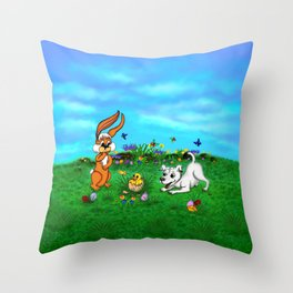 Easter - Spring-awakening - Puppy Capo with Rabbit and Chick Throw Pillow
