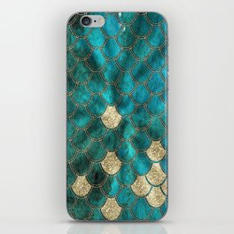 Multicolor Aqua And Gold Mermaid Scales -  Beautiful Abstract Pattern iPhone Skin