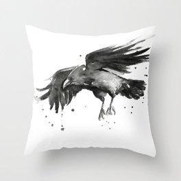 Raven Watercolor Bird Painting Black Animals Throw Pillow