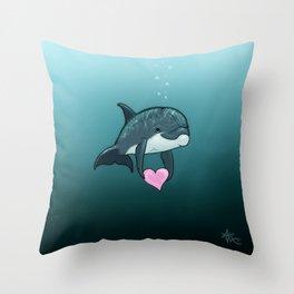 """Love Ya"" by Amber Marine ~ Toon Baby Dolphin Art, (Copyright 2014) Throw Pillow"