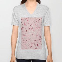 Pink Quartz Glitter Terrazzo Unisex V-Neck