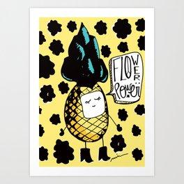 Flower Power pineapple Art Print