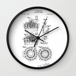 Curta Mechanical Calculator Patent Drawing (1 of 3) Wall Clock