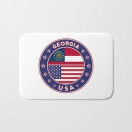 Georgia, Georgia t-shirt, Georgia sticker, circle, Georgia flag, white bg Bath Mat