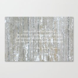 Serenity Prayer: White on Beige Canvas Print
