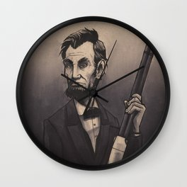 Abraham Lincoln and his Henry repeating rifle Wall Clock