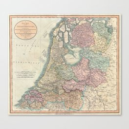 Vintage Map of The Netherlands (1799) Canvas Print