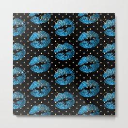 Blue Turquoise Glitter Lip Pattern Metal Print